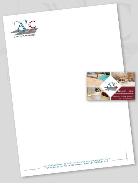 A'C - Art du carrelage - Carte de visite et en-tête de lettre de A'C - Art du carrelage