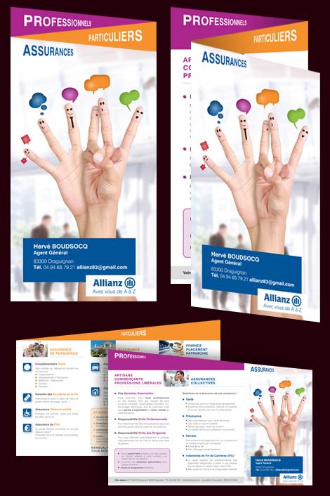 Allianz assurance - Dépliant 3 volets en accordéon, recto et verso, pour Allianz Assurance. Forme de découpe personnalisée.