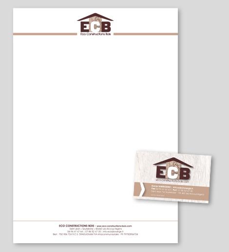 ECB - Eco Constructions Bois - En-tête de lettre et carte de visite pour ECB - Eco Constructions Bois