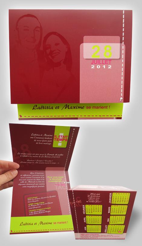 Particuliers - Faire-part de mariage, recto et verso, avec vernis sélectif et une première partie de calendrier