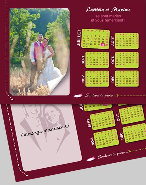 Particuliers - Carte de remerciements (recto) avec la suite du calendrier et des encoches pour insérer une photo cachant un message manuscrit