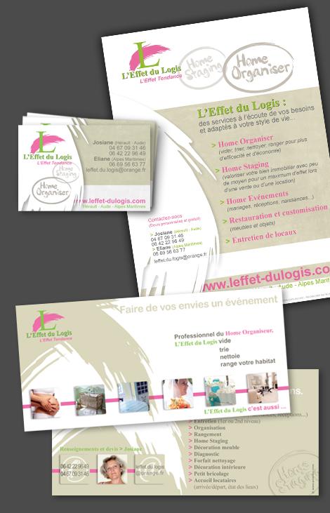 L'effet du logis - Création de flyers, carte de visite et carton publicitaire pouvant servir comme carte de correspondance (recto et verso)