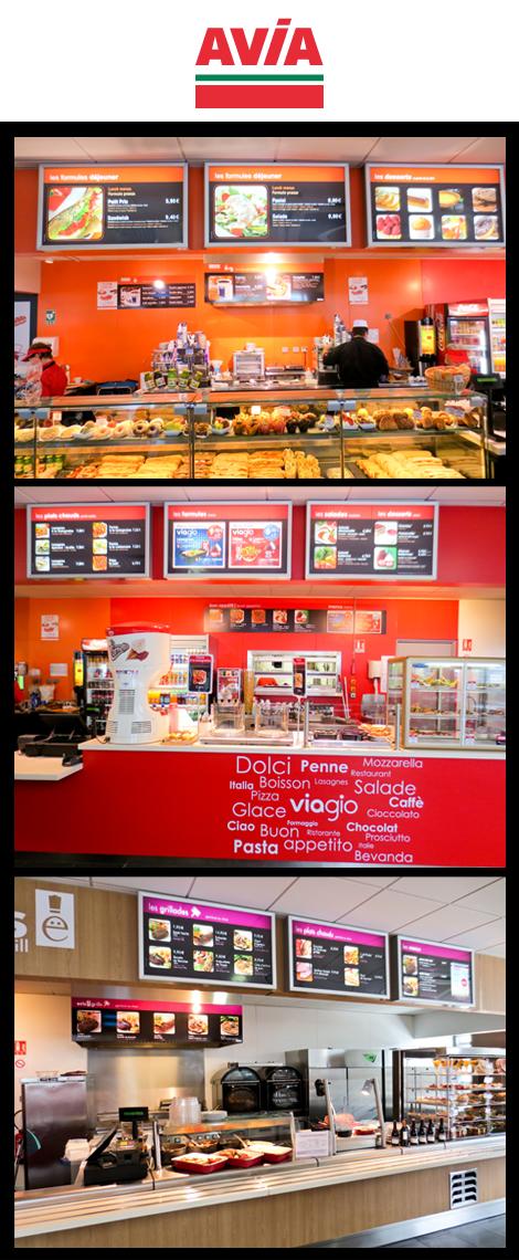 Station AVIA autoroute - Affichages divers (panneaux, vitrines, menuboard, esquivents). Vinyles adhésifs sur bar, hôtes, murs et vitres pour la partie restauration