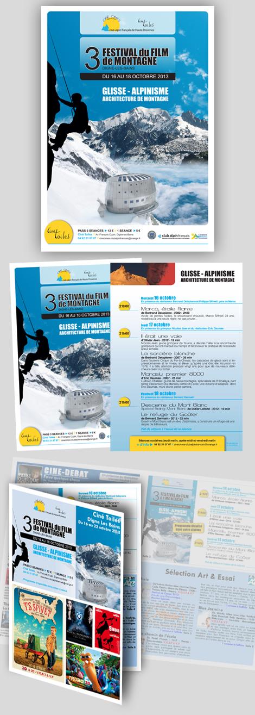 Ciné Cimes - 3e Festival du Film de Montagne de Digne-les-bains. Création d'affiches, flyers et encarts publicitaires dans les programmes du cinéma