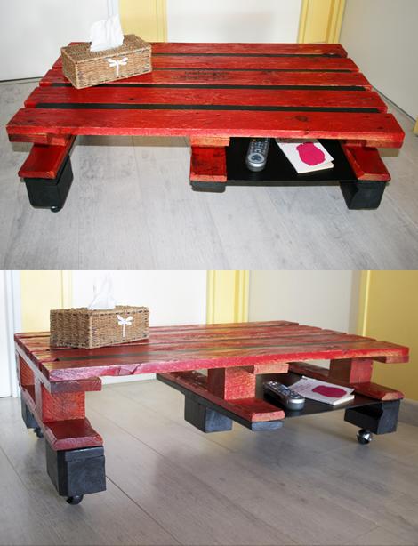 Tables en palettes - Table basse créée à partir de palettes en bois