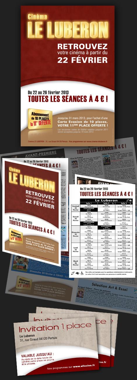 Cinéma de Pertuis - Création de l'affiche de la réouverture du cinéma de Pertuis, des encarts publicitaires, cartes d'abonnement, réalisation des programmes