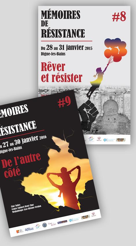 Mémoires de Résistance - Affiches, prospectus 4 pages pour les 8e et 9e éditions de Mémoires de Résistance