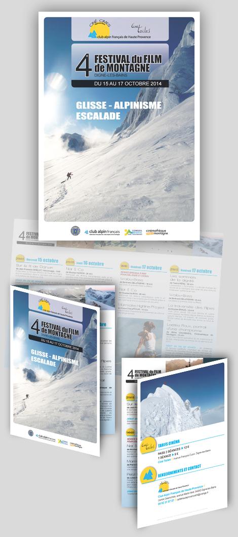 Ciné Cimes - 4e Festival du Film de Montagne de Digne-les-bains : affiche et flyer