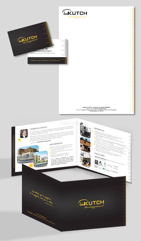 KUTCH Développement - Entête de lettre + carte de visite et plaquette en impression dorure or