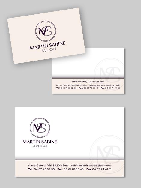 Avocat - Sabine MARTIN - Création d'une carte de visite et d'une carte de correspondance