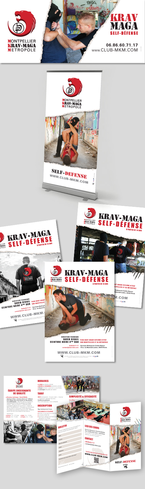 Club de Krav-Maga - Banderole, roll-up, affiches, dépliant du club MKM